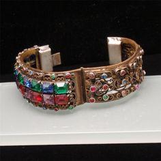 Hinged Bangle Bracelet Vintage c1910 Multi-Color Open-Back Stones