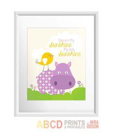 Nursery art print quote hippo, bird, you are my sunshine, nursery print 8x10. $11.00, via Etsy.