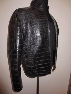 BLACK GORGEOUS CUSTOM MADE BAD A$$ CROCODILE BIKER JACKET SIZE 48 OR S/M #ALLIGATOR #Motorcycle