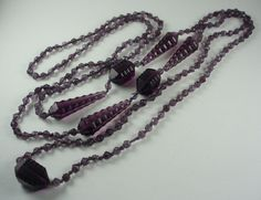 Art Deco Amethyst Glass Bead Flapper Length Necklace 60 Inches