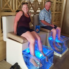 Secrets Society February Spotlight: A Sneak Peek at a Secrets Society Member Vacation! Ian and Shelley M. enjoyed a fish pedicure to celebrate their last day at Secrets Puerto Los Cabos Golf & Spa Resort. Photo courtesy of Ian and Shelley M.