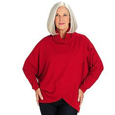 Kate & Mallory® Stretch Rayon Dolman Sleeved Tulip Wrap Knit Pullover
