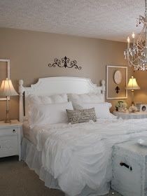 White bedding. Have the linens;need the wall treatment?