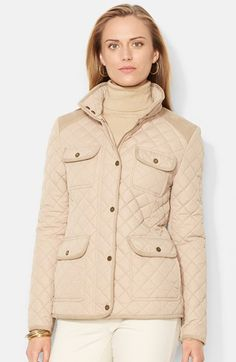 Lauren Ralph Lauren Corduroy Trim Quilted Barn Jacket (Online Only)  available at  Nordstrom 16f9e6f32