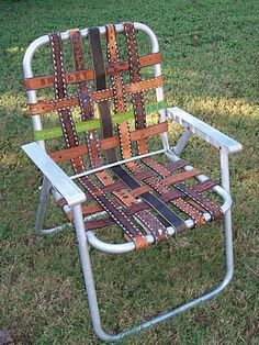 upcycled belts into lawn chair.  Interesting...