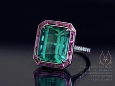"Leon Mege - Green tourmaline with pink sapphire halo and ""bubbled crust"" melee basket."