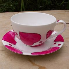 Cup of Love Hand Painted Pink Heart Cappuccino Cup by scattyartist, $40.00