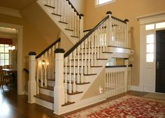 Some more color ideas for entryway.  Staircase Photos Blond Wood Black Trim Staircases Design Ideas, Pictures, Remodel, and Decor