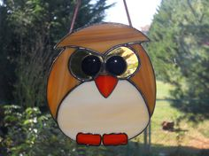 Stained Glass Owl Suncatcher by connysstainedglass on Etsy, $20.00