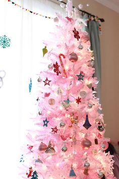 pink and teal christmas