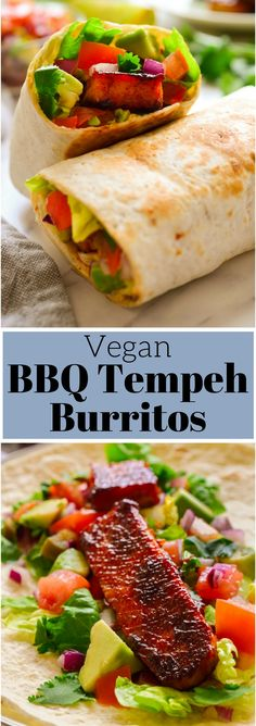 This #vegan burrito is super simple to put together with deliciously smoky BBQ #tempeh and fresh vegetables. Quick, easy and endlessly adaptable, #burritos make a great no-fail weeknight meal!