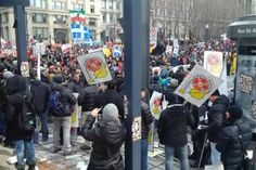 Firefighters joined a student-led anti-austerity protest in Montreal on April 2. - See more at: http://www.labornotes.org/2015/05/pensions-peril-quebec-firefighters-boycott-montreal-police-and-fire-games#sthash.AABboukb.dpuf