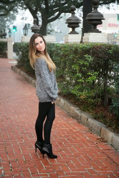 Sweater weather. Sweater and booties by Forever 21. Leggings by Brandy Melville. #hellogorgeous #ootd