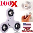 100 PACK Tri Fidget Spinner Toy Ceramic EDC Hand Finger Spinner White Wholesale