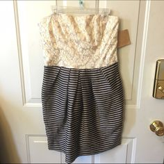 NWT Rachel Roy dress Stunning strapless dress by Rachel Roy. Lace sweetheart top with striped pleated bottom with pockets. Size 4. New with tag. Zip back RACHEL Rachel Roy Dresses Mini