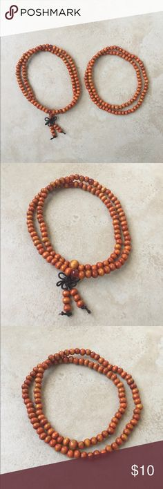 Orange Mala Buddha Bracelet Set Brand new  Includes two orange malas  Color: Orange Size: One size fits most Bead Size: 6mm Amount of Beads: 108  Also available in red, green, and black   #buddha #bracelet #buddhabracelet #yoga #yogi #meditate #prayerbeads #prayer #beads #chakra Jewelry Bracelets