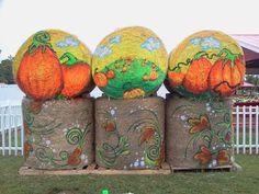 Painted Hay Bale at Hill Ridge Farms by Cyndi McKnight 2012
