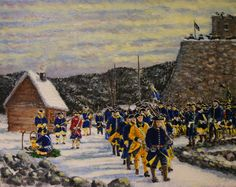 Swedish infantry marching at the Fortress of Narva, Great Northern War