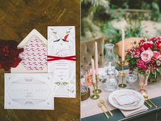 red wedding invitations - photo by Anna Delores Photography http://ruffledblog.com/garden-wedding-inspiration-with-antique-details