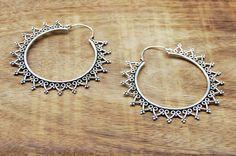 Large Hoop Earrings Gypsy Earrings Silver by GypsyWindsJewelry