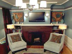Brown and Blue Living Room. David Bromstad Color Splash