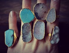 Turquoise and druzy rings