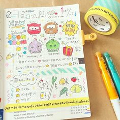 Bullet Journal Japan, Bujo, Notebook Art, Tsumtsum, Stationery Items, Hobonichi, Diy Scrapbook, Gliders, Leather Craft