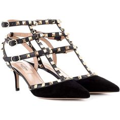 Valentino Valentino Garavani Rockstud Suede and Leather Sandals ($965) ❤ liked on Polyvore featuring shoes, sandals, black, valentino shoes, suede sandals, black suede shoes, genuine leather shoes and black leather shoes