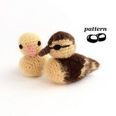 Crochet pattern for adorable fluffy ducklings!  Designed to be realistic in all their natural cuteness, these make a great addition to your seasons table, perfect spring and Easter decorations, lovely twig tree ornaments or even shocking toys for a cat!  For an approximately 10cm or 4 mallard duckling you will need double-knitting (DK, light worsted weight, Category 3) yarn in the following quantities: -- 21m (23yds) of brown -- 15m (17yds) of gold/yellow For a single-colour duckling you…