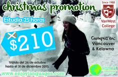 #PromociónDelDía #Christmas #Promotion con#VanWestCollege Inscríbete antes del 31 de diciembre en un programa de 25 horas ¡y paga menos! Estudiar en #Vancouver ó #Kelowna #Canadá siempre es una grandiosa opción. #EstudiaenelExtranjero#EstudiaenCanadá