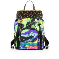 Prada Tessuto Patch Nylon Backpack ($1,600) ❤ liked on Polyvore featuring bags, backpacks, drawstring backpack, patch backpack, patchwork backpack, nylon drawstring bags and buckle flap backpack