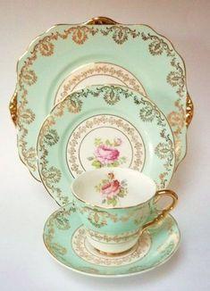 Vintage China Royal Stafford pink roses on aqua trio and cake plate Burslem vintage china - Vintage Cups, Vintage Dishes, Shabby Vintage, Vintage China, Vintage Tea, Antique China, Tea Cup Set, My Cup Of Tea, Tea Cup Saucer
