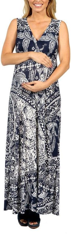 24/7 Comfort Apparel Indigo Seas Maxi Dress-Plus Maternity