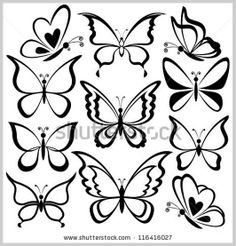 Various butterflies, black contours on white background Vector ...