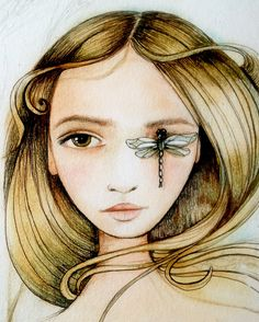 woman with dragonfly art print by PrintIllustrations on Etsy