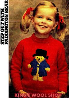 Knit-Childrens-PADDINGTON-BEAR-Sweater-Jumper-Pattern