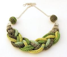 braided necklace in green and gray colors - knitted jewelry