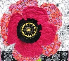 poppy quilt  wall art quilt  single stem in by moonspiritstudios, $49.00