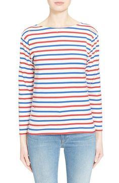 SAINT LAURENT Distressed Stripe Cotton Tee. #saintlaurent #cloth #