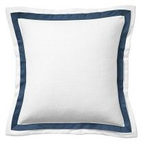 White Pique Navy Trim Pillow Cover