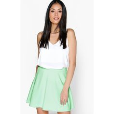 Boohoo Roseanna Fit And Flare Skater Skirt ($14) ❤ liked on Polyvore featuring skirts, mint, maxi skirt, white midi skirt, mint maxi skirt, a line skirt and midi circle skirt