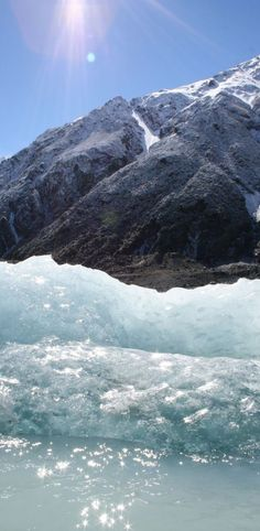 Sun on iceberg - Tasman Glacier at Mount Cook, South Island, New Zealand