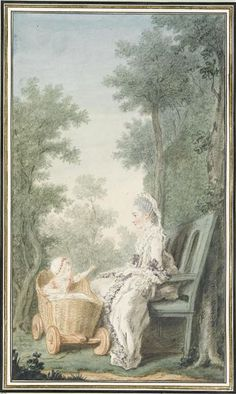 Marie-Charlotte-Antoinette de Wignacourt, duchesse de Cosse (1750-1778) and daughter, 1766 by Louis Carrogis dit Carmontelle (1717-1806) (Chantilly, musee Conde)