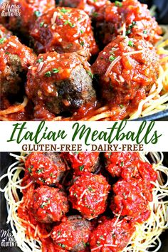 As easy gluten-free meatball recipe that is baked. Perfectly spiced Italian meat… As easy gluten-free meatball recipe that is baked. Perfectly spiced Italian meatballs that are juicy and tender. The recipe has a dairy-free option. Meatball Recipes, Beef Recipes, Simple Meatball Recipe, Cookies Gluten Free, Gluten Free Meatballs, Sem Gluten Sem Lactose, Italian Meats, Gluten Free Recipes For Dinner, Dairy Free Recipes Kid Friendly