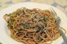 Walnut anchovy pasta