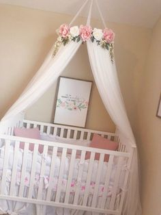 Aurora Canopy – Serene Floral Crib Canopy // Bed Crown // Nursery Decor // Teepee // Baby Shower Decoration or Gift – Girls Room 2020 Nursery Room, Girl Nursery, Nursery Decor, Floral Nursery, Kids Bedroom, Chic Nursery, Cama Floral, Corona Floral, Bed Crown