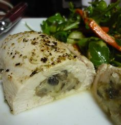 mushroom & parmesan stuffed chicken - i made this tonight and it was AMAZING. used good quality grated parm, portobellos, yellow onion and garlic for the stuffing and herbes de provence on top.