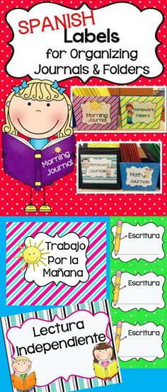 "**Spanish Version  This pack contains cute labels to help you keep your journals and folders organized. It has labels for your bins or boxes and labels to put on each one of your student folders. You can print them at their regular size or change the % of the size in printing options to make them smaller. For all labels I gave the option of ""carpeta de subject"" or ""subject name only"" so you can use the label that you need in your classroom. -Alma Almazan"