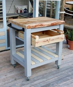 Handmade Rustic Farmhouse Style Reclaimed Wood Butchers Block Kitchen Trolley, can be customised by Thymeandtideart on Etsy