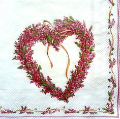 4 x Single Table Paper Napkins /Craft , Party/ for Decoupage / BEAUTY HEART